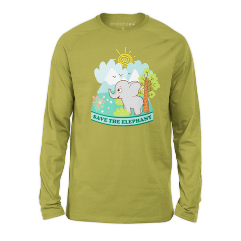 Organic Long Sleeve Kids Tee Shirt - Elephant In A Wonderful World