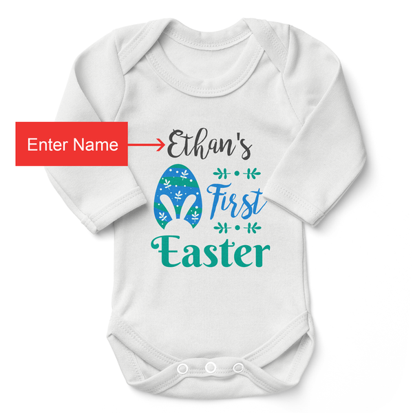 [Personalized] My First Easter Organic Baby Bodysuit (Boy)