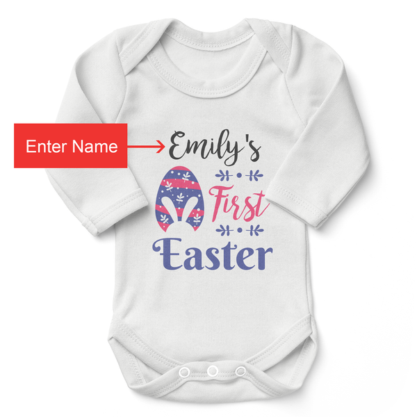 [Personalized] My First Easter Organic Baby Bodysuit (Girl)