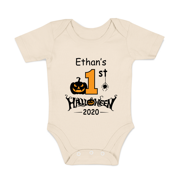 [Personalized] First Halloween Funny Organic Baby Bodysuit
