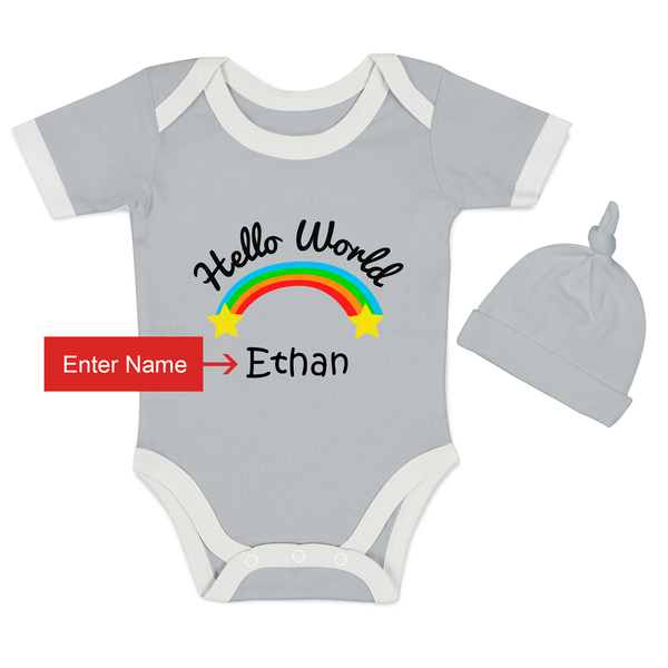 [Personalized] Hello World - Organic Newborn Outfit