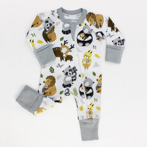 Endanzoo Organic Long Sleeve Double Zippered Romper- Safari Hugs
