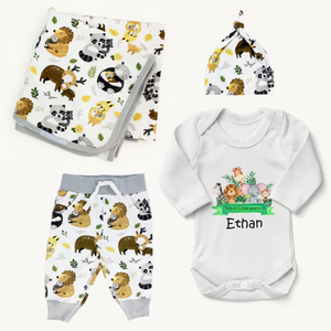 Endanzoo Organic Newborn Coming Home Outfit Set - Safari Hugs