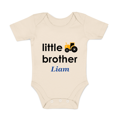 [Personalized] Little Brother Truck Organic Baby Boy Bodysuit