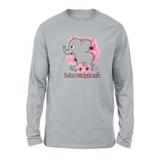 Organic Long Sleeve Kids Tee Shirt - Elephant with Lilac Flowers