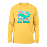 Organic Long Sleeve Kids Tee Shirt - Colorful Will, Blue Whale