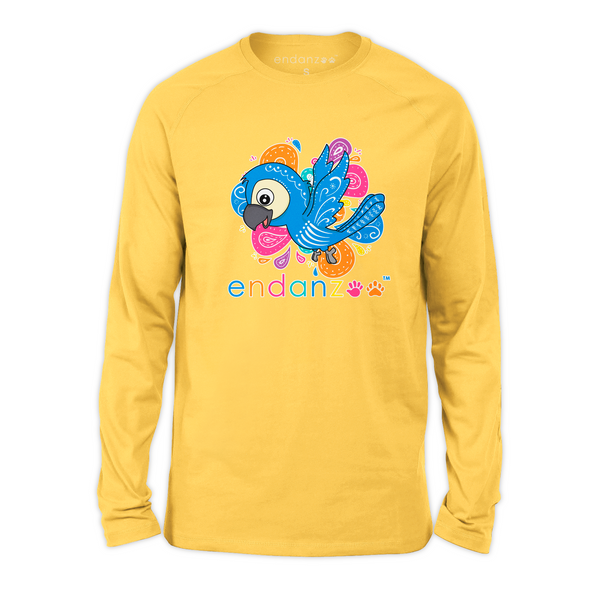 Organic Long Sleeve Kids Tee Shirt - Blue Throated Macaw World