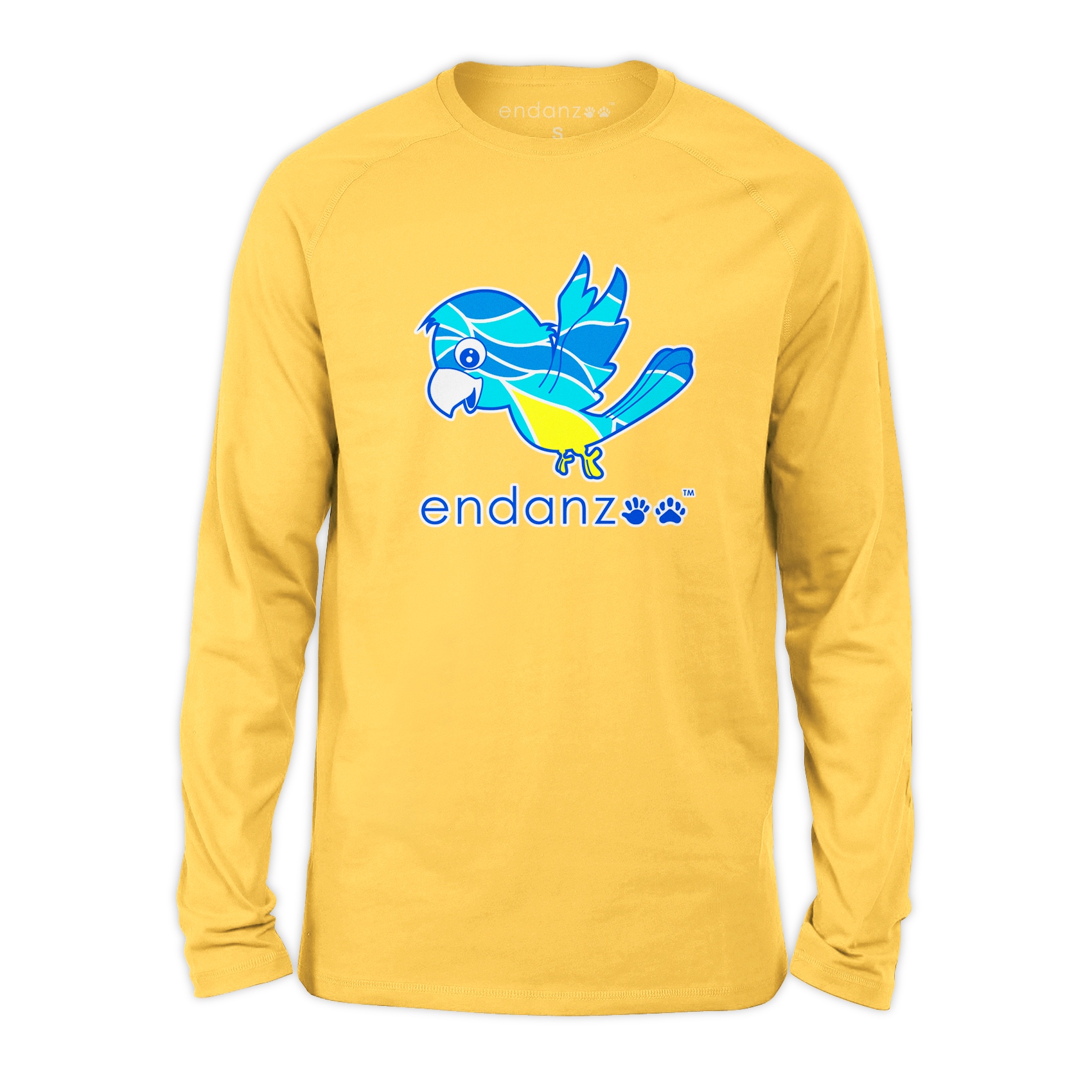 Organic Long Sleeve Kids Tee Shirt - Macaw Bird Against Odds