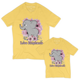 Matching Mom-and-Daughter Organic Tee Shirts - Elephants With Lilac Flowers (Yellow)