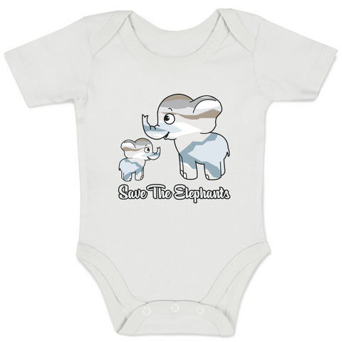 Organic Baby Bodysuit - Save The Elephants Family