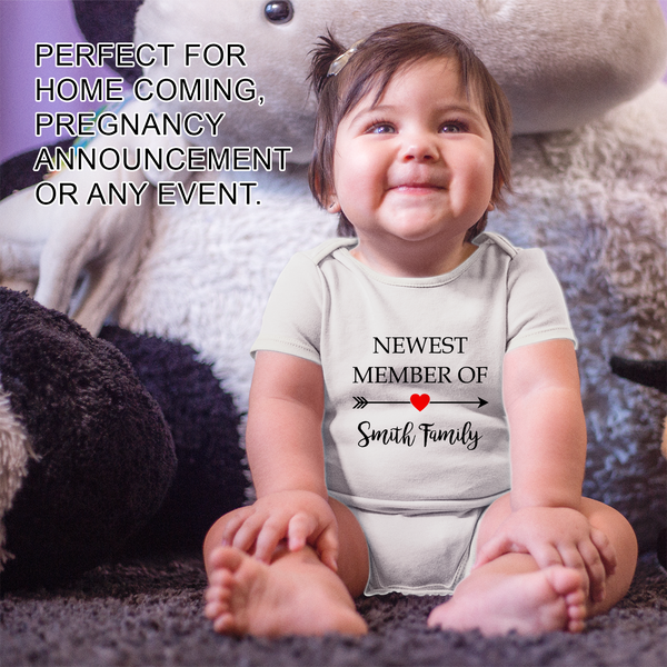 [Personalized] Newest Family Member Short Sleeve Organic Baby Bodysuit