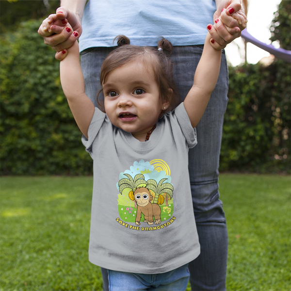 Organic Short Sleeve Kids Tee Shirt - Orangutan In A Wonderful World