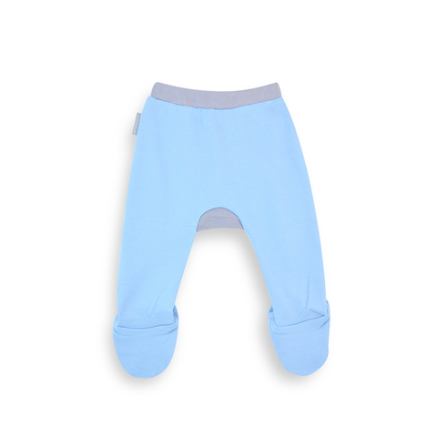 Organic Footed Pant - Blue w/ grey