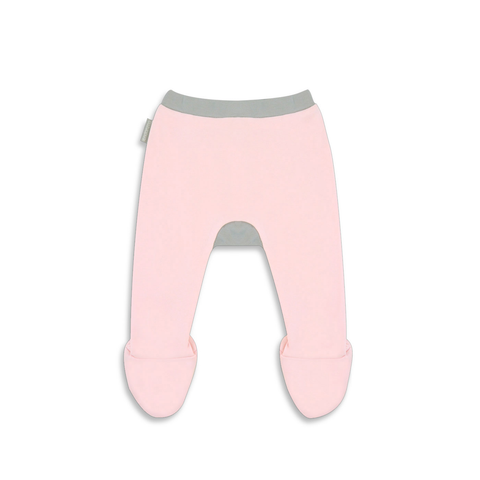 Organic Footed Pant - Pink w/ grey