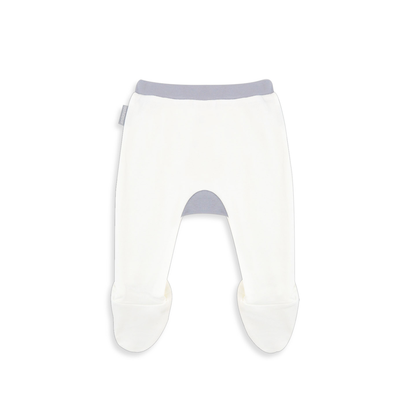 Organic Footed Pant - White w/ grey