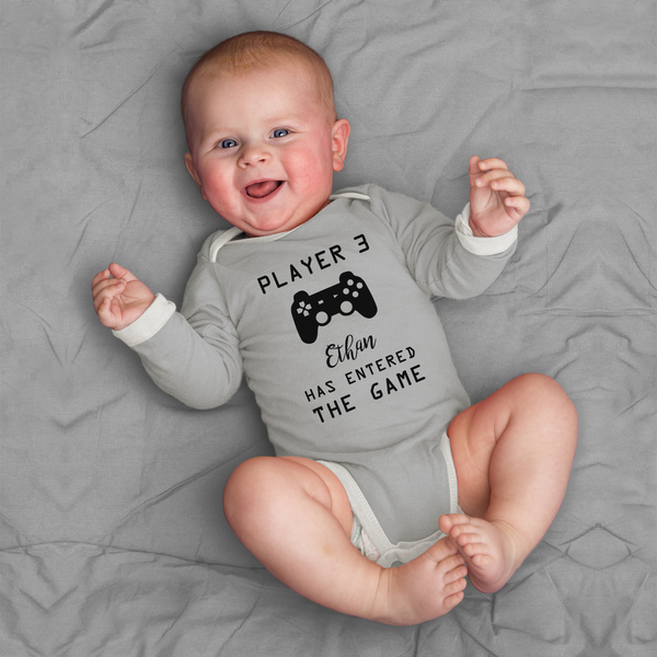 Player 3 Pregnancy Announcement Funny Organic Baby Bodysuit