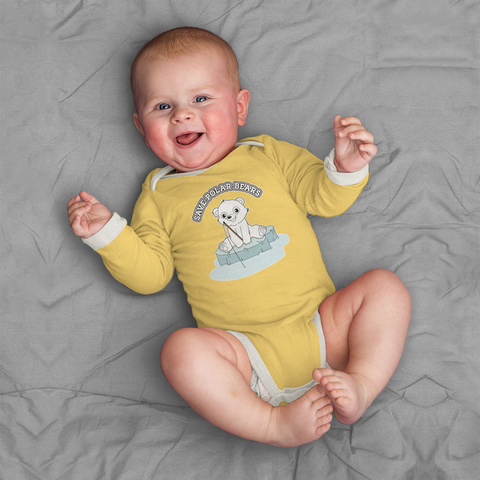 Organic Long Sleeve Bodysuit - Polar Bear On Sea Ice