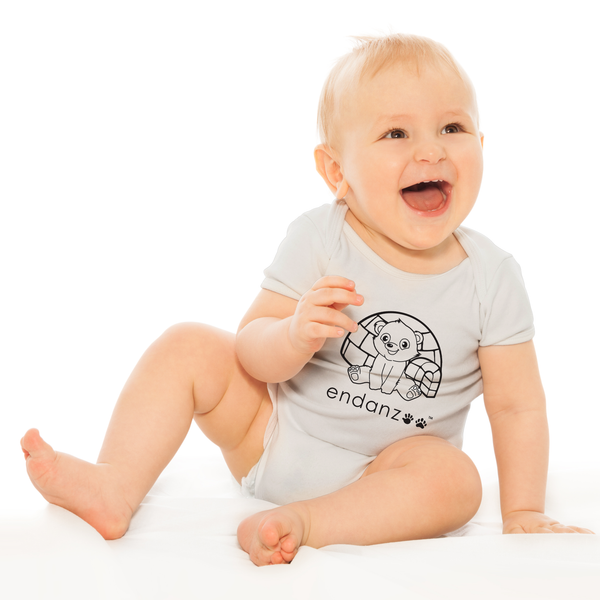 Organic Short Sleeve Baby Bodysuit - Polar Bear & Igloo