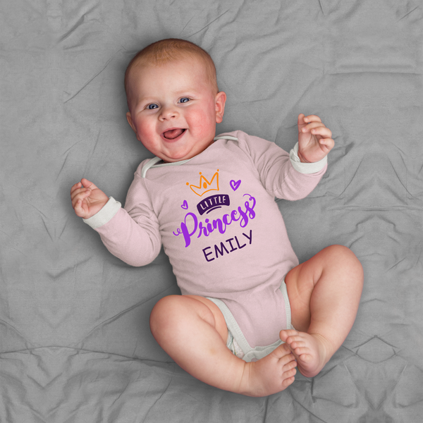 [Personalized] Little Princess Organic Long Sleeve Baby Bodysuit