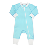 Classic Snuggle Organic Long Sleeve Double Zippered Romper - Aqua