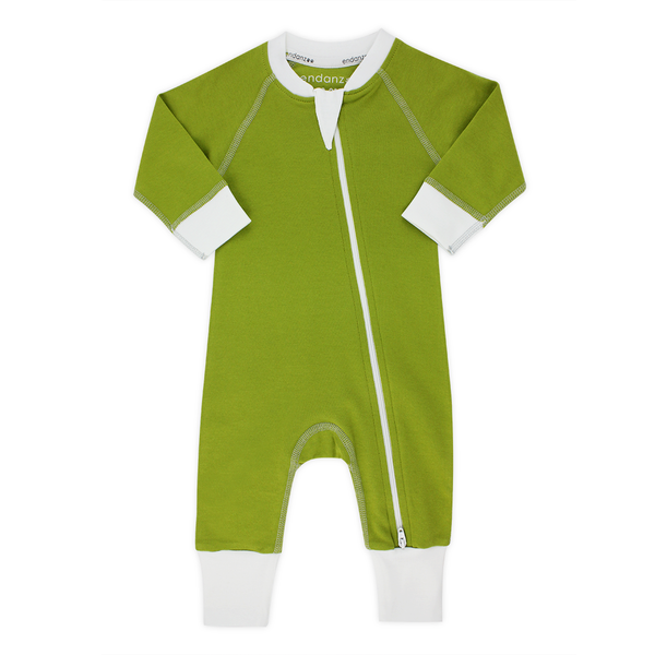Classic Snuggle Organic Long Sleeve Double Zippered Romper - Green