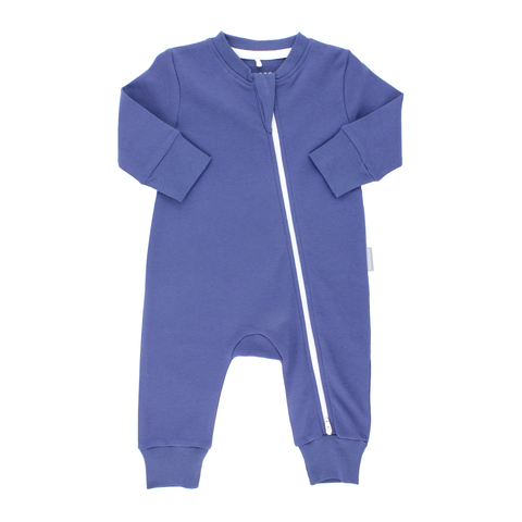 Organic Long Sleeve Double Zippered Romper - Navy