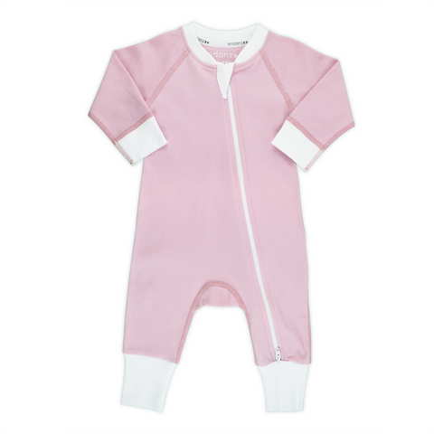Endanzoo Classic Snuggle Organic Long Sleeve Double Zippered Romper - Pink