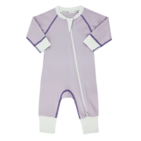 Classic Snuggle Organic Long Sleeve Double Zippered Romper - Purple