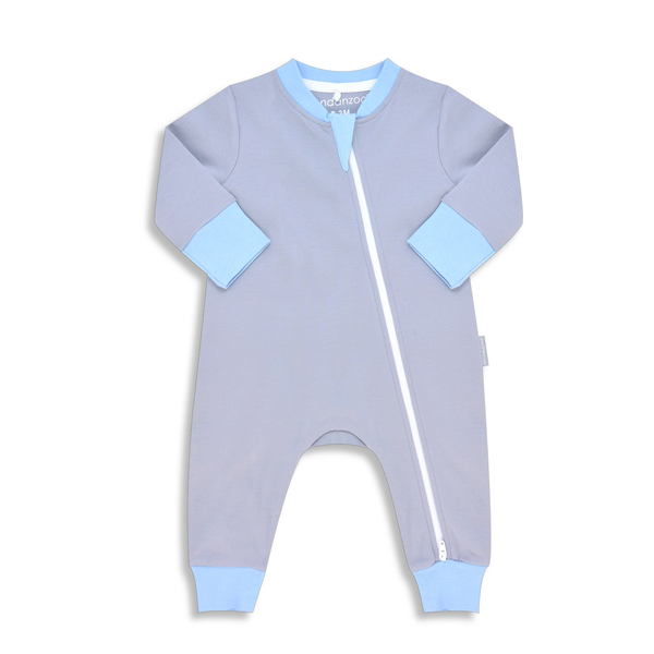 Organic Long Sleeve Double Zippered Romper - Grey w/ Blue