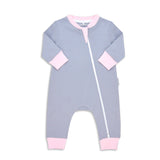 Organic Long Sleeve Double Zippered Romper - Grey w/ Pink