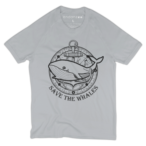 Organic Short Sleeve Kids Tee Shirt - Whale with Ship Anchor