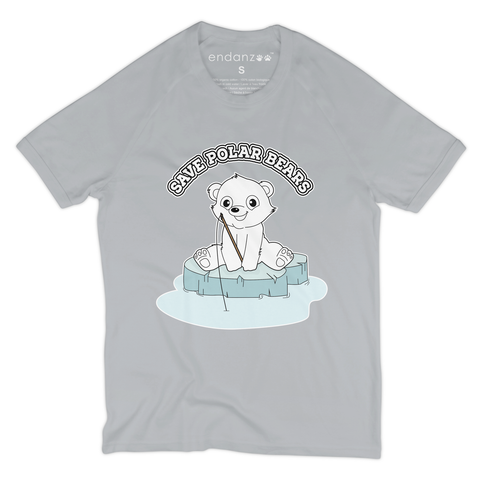 Organic Short Sleeve Kids Tee Shirt - Polar Bear On Sea Ice