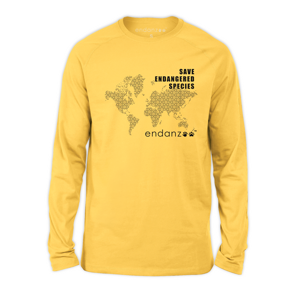 Organic Long Sleeve Kids Tee Shirt - Save Endangered Species