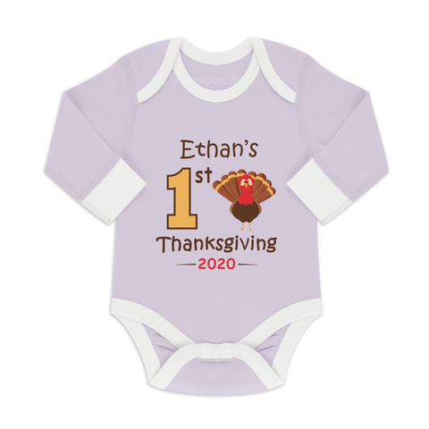 [Personalized] First Thanksgiving Funny Organic Baby Bodysuit