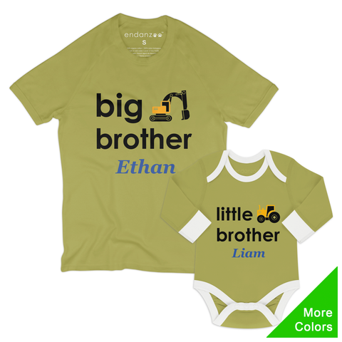 [Personalized] Matching Big Brother & Little Brother Organic Outfit - Trucks