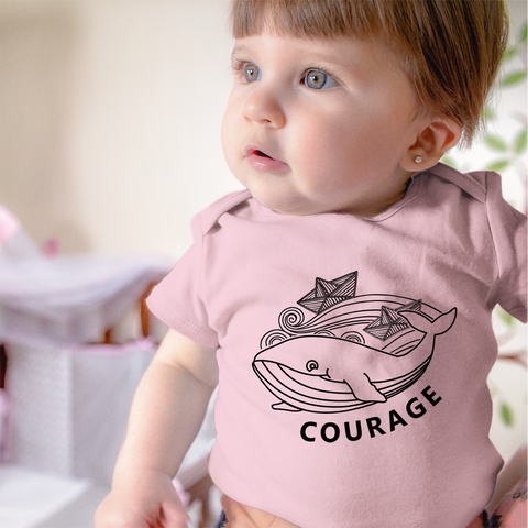 Organic Short Sleeve Bodysuit - Whale Courage
