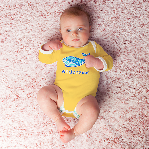 Organic Long Sleeve Bodysuit - Will Whale Making Waves