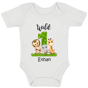 [Personalized] Wild 1 Safari Organic Baby Bodysuit