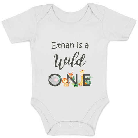 [Personalized] Wild ONE Animals Organic Baby Bodysuit