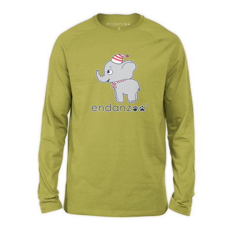 Organic Long Sleeve Kids Tee Shirt - Elephant In Winter