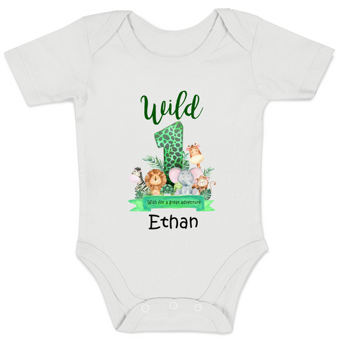[Personalized] Wild 1 Animals Wish Baby Bodysuit