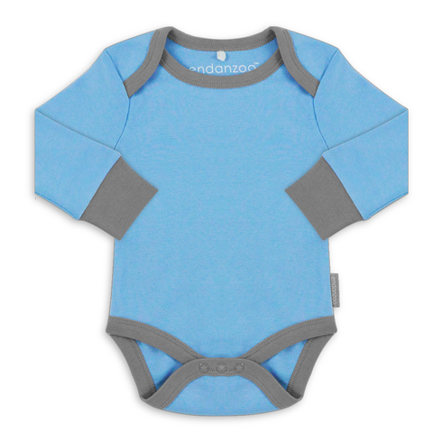 Organic Long Sleeve Bodysuit - Blue w/ grey