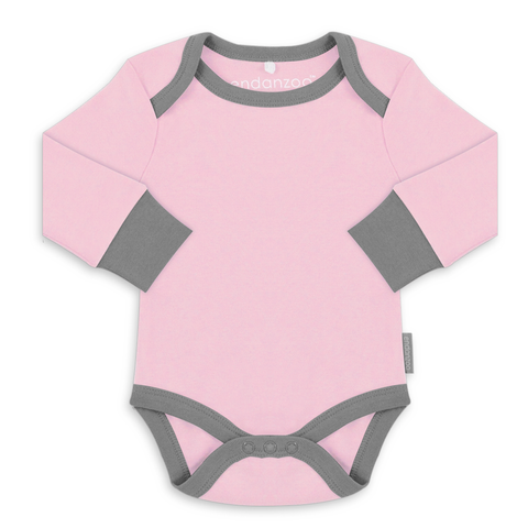 Organic Long Sleeve Onesie - Pink w/ grey