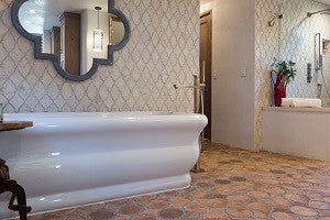 Arabesque Cement Tile Provide Subtle Sophistication for Peaceful Bath