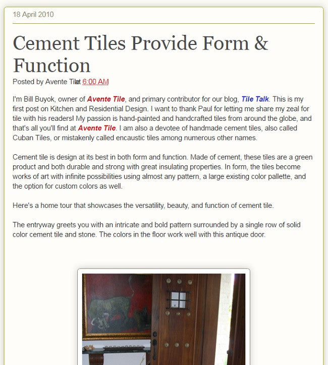 Cement Tiles Provide Form & Function