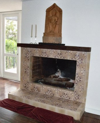 Cluny Cement Tile Fireplace Surround