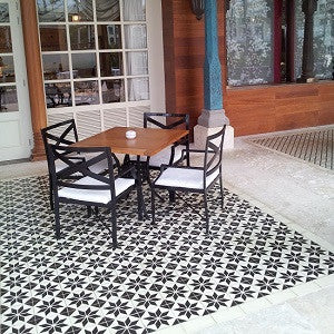 French Bistro Uses Cement Tile Flooring for Classic Design Theme