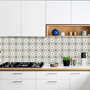 Grayscale Cement Tile Pattern For Kitchen Backsplash Keeps Clean Look