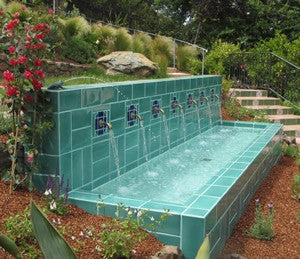 Pool Tile with Modular Pattern Creates Soothing Fountain