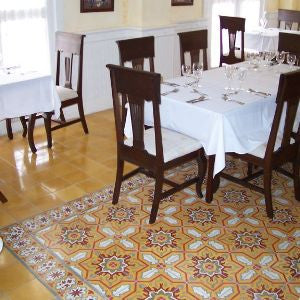 Restaurant's Cement Tile Rug Adds Depth, Interest